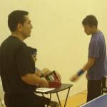 Watching a interesting table tennis match in Newport Beach