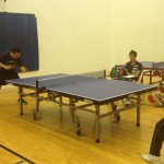 Tight match on Newport Beach table tennis