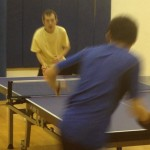 Tong Yu and Ronald Yu playing table tennis in Newport Beach