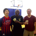 Ryan Louie, Ralph Guillory and Tim Stephens after playing table tennis in Newport Beach