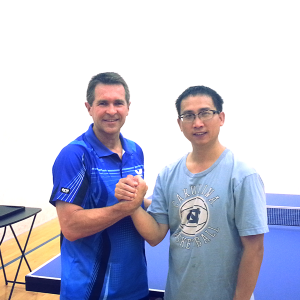 Tony Kovacs and Kuei Chen from Newport Beach Table Tennis playing the Equal Challenge Tournament